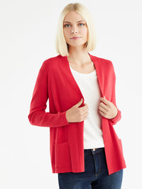 Open Front Ribbed Cardigan, Plus Size Color Cherry