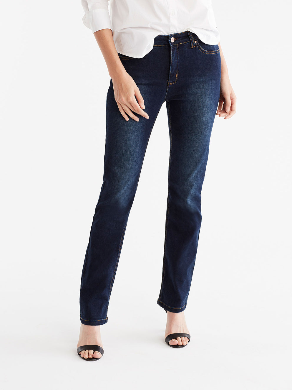 The Jones New York Lexington Indigo Wash Straight Leg Jeans, Plus Size in color Indigo Wash - Image Position 1