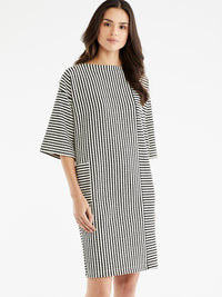 The Jones New York Textured Stripe Dress, Plus Size in color Black Cable Stripe - Image Position 1