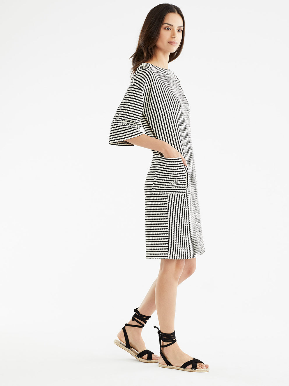 The Jones New York Textured Stripe Dress, Plus Size in color Black Cable Stripe - Image Position 2