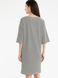 The Jones New York Textured Stripe Dress, Plus Size in color Black Cable Stripe - Image Position 3
