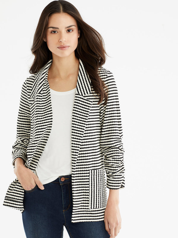 Textured Stripe Blazer, Plus Size