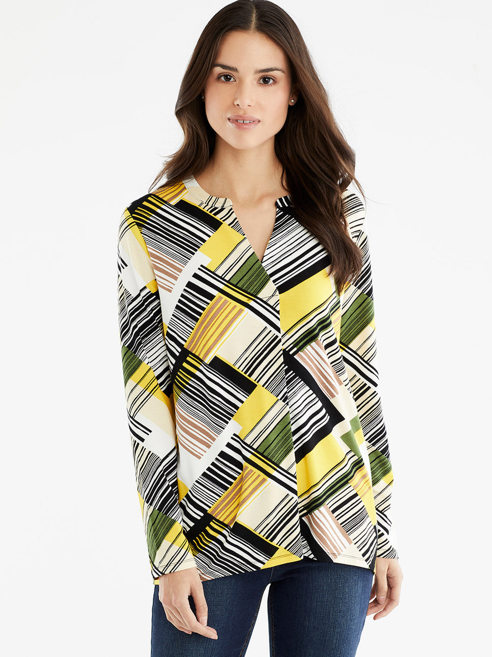 The Jones New York Pleated Split Neck Top, Plus Size in color Canary Multi Stripe - Image Position 1
