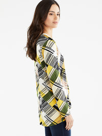 The Jones New York Pleated Split Neck Top, Plus Size in color Canary Multi Stripe - Image Position 2