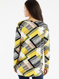 The Jones New York Pleated Split Neck Top, Plus Size in color Canary Multi Stripe - Image Position 3