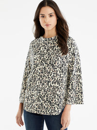 The Jones New York 3/4-Sleeve Drape Neck Top in color Stormy Leopard Print - Image Position 1