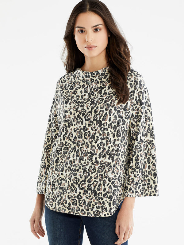 3/4-Sleeve Drape Neck Top