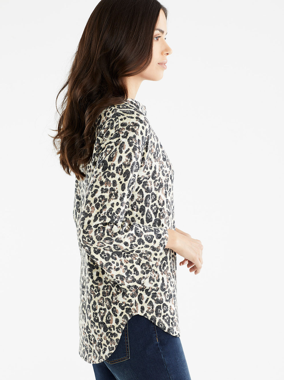 The Jones New York 3/4-Sleeve Drape Neck Top in color Stormy Leopard Print - Image Position 2