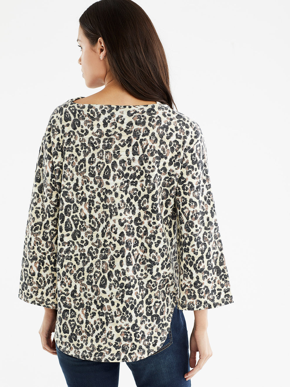 The Jones New York 3/4-Sleeve Drape Neck Top in color Stormy Leopard Print - Image Position 3