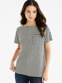 The Jones New York Textured Stripe Top, Plus Size in color Black Cable Stripe - Image Position 1