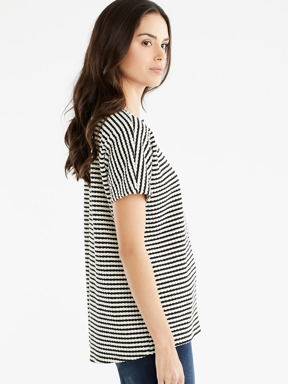 The Jones New York Textured Stripe Top, Plus Size in color Black Cable Stripe - Image Position 2