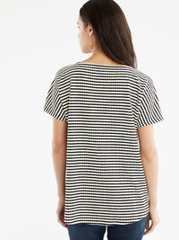 The Jones New York Textured Stripe Top, Plus Size in color Black Cable Stripe - Image Position 3