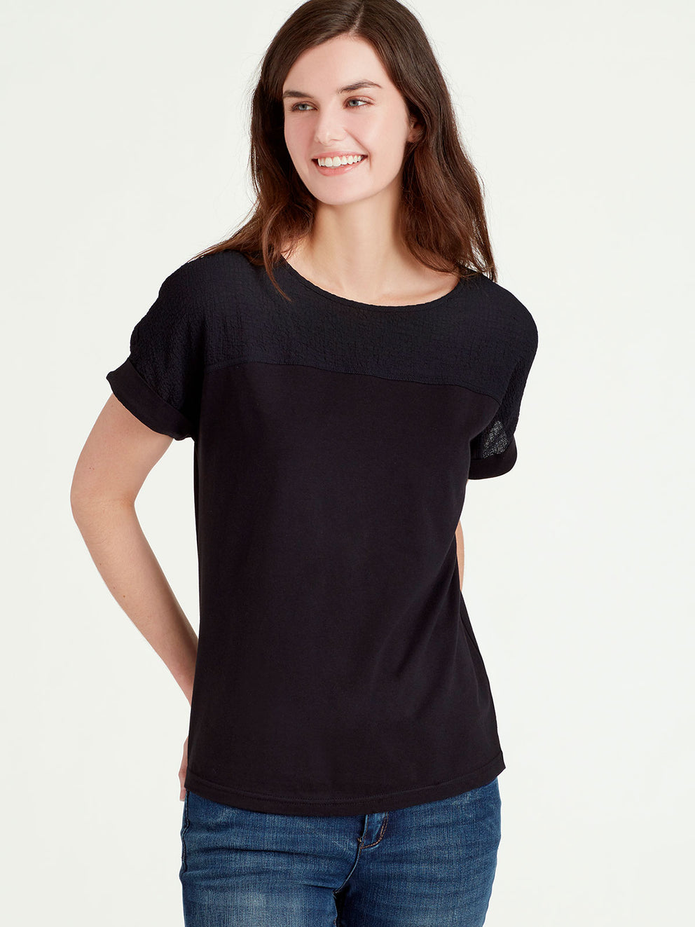 The Jones New York Sheer Panel Top in color Black - Image Position 1