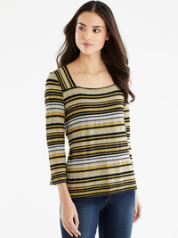 The Jones New York Striped Square Neck Top, Plus Size in color Golden Combo - Image Position 1