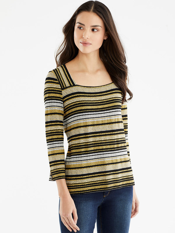 Striped Square Neck Top, Plus Size