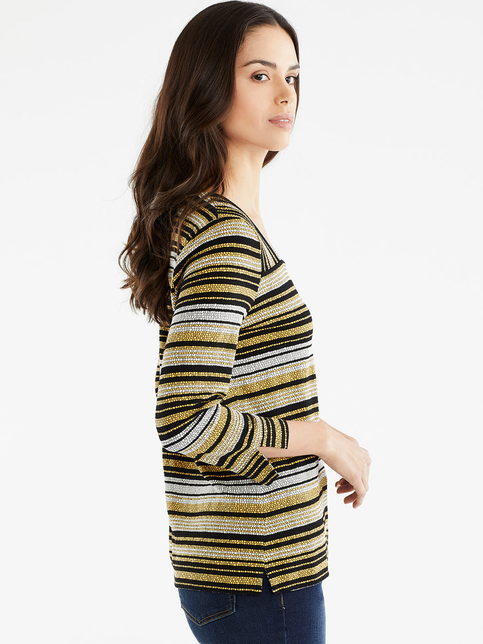 The Jones New York Striped Square Neck Top, Plus Size in color Golden Combo - Image Position 2