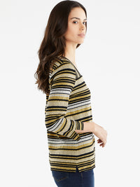The Jones New York Striped Square Neck Top in color Golden Combo - Image Position 2