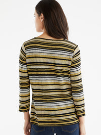 The Jones New York Striped Square Neck Top in color Golden Combo - Image Position 3