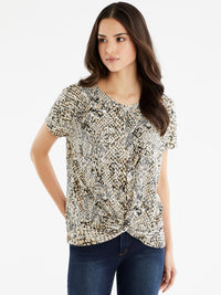 The Jones New York Draped Dolman Sleeve Top in color Beige Snake Combo - Image Position 1