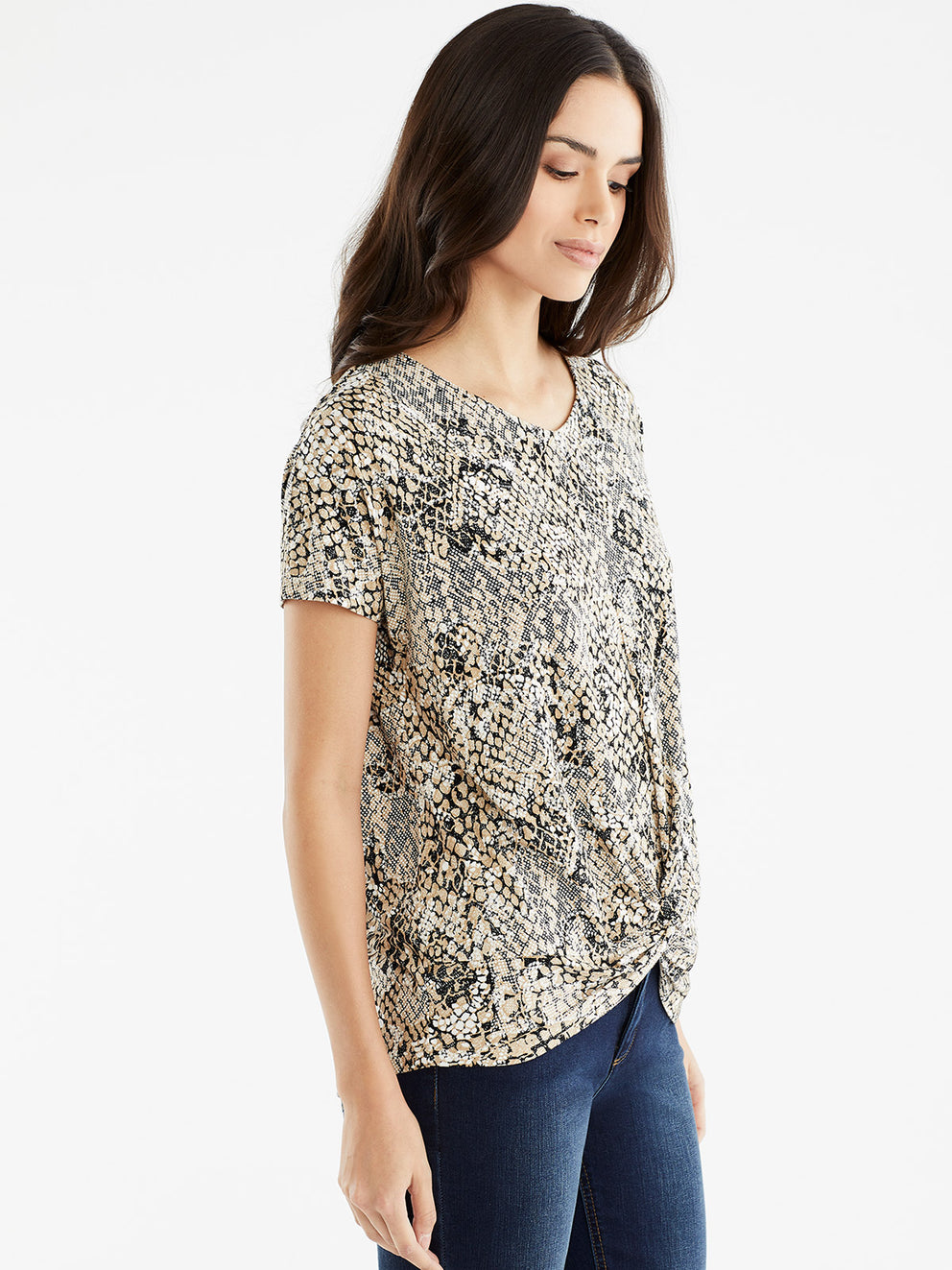 The Jones New York Draped Dolman Sleeve Top in color Beige Snake Combo - Image Position 2