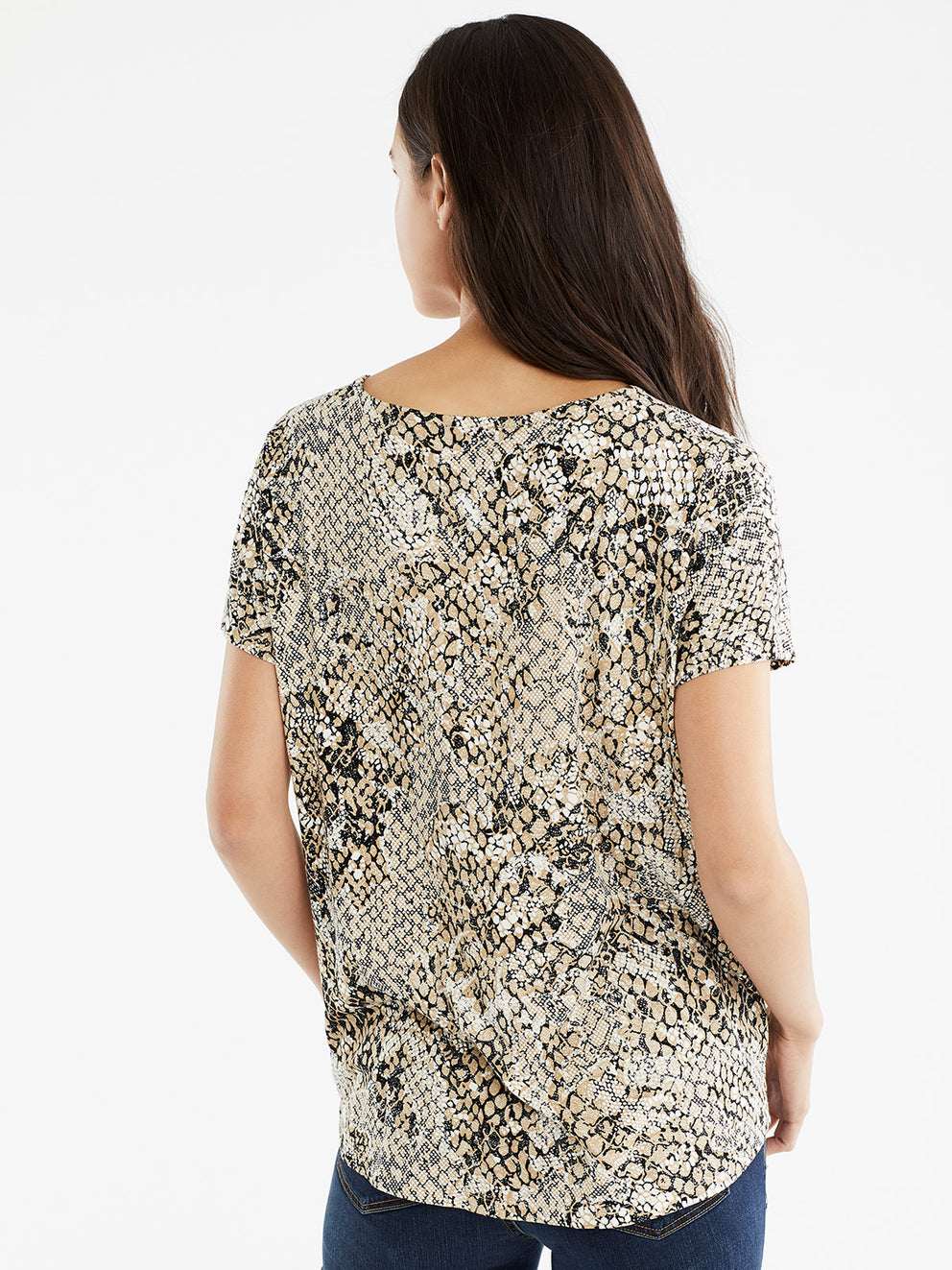 The Jones New York Draped Dolman Sleeve Top in color Beige Snake Combo - Image Position 3