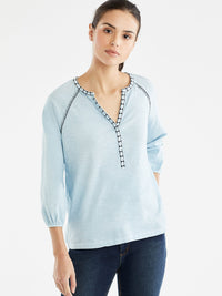 The Jones New York Embroidered Trim Tunic in color Pale Ocean - Image Position 1