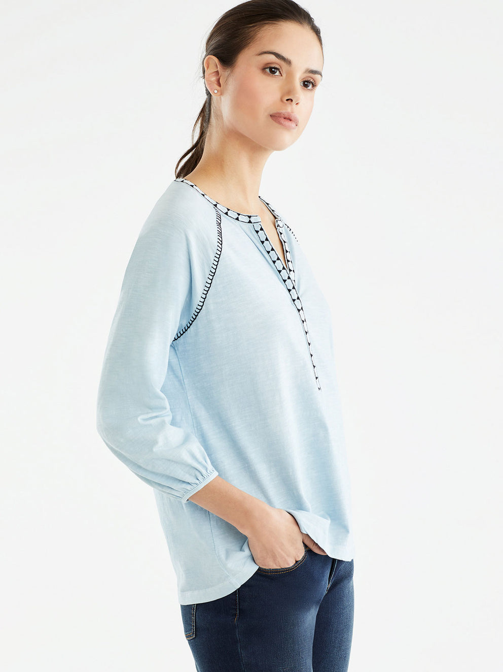The Jones New York Embroidered Trim Tunic in color Pale Ocean - Image Position 2