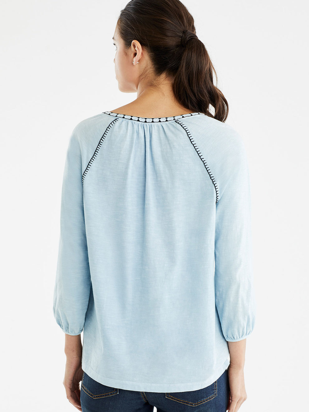 The Jones New York Embroidered Trim Tunic in color Pale Ocean - Image Position 3