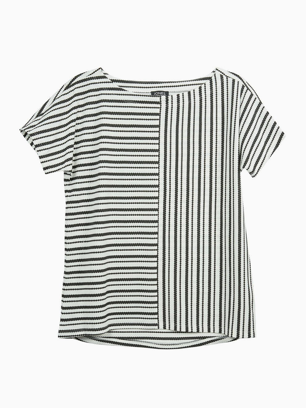 The Jones New York Striped Dolman Sleeve Tee in color Black Combo Stripe - Image Position 1