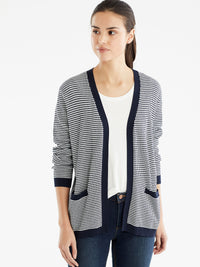 The Jones New York V-Neck Open Cardigan in color Dotted Navy - Image Position 1