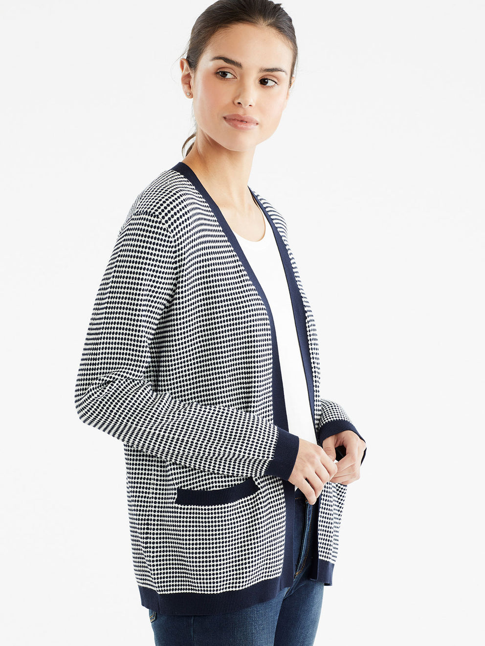 The Jones New York V-Neck Open Cardigan in color Dotted Navy - Image Position 2