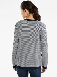 The Jones New York V-Neck Open Cardigan in color Dotted Navy - Image Position 3