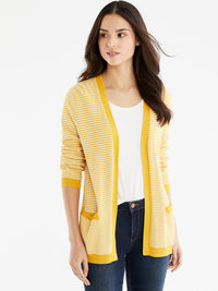 The Jones New York V-Neck Open Cardigan in color Dotted Golden - Image Position 1