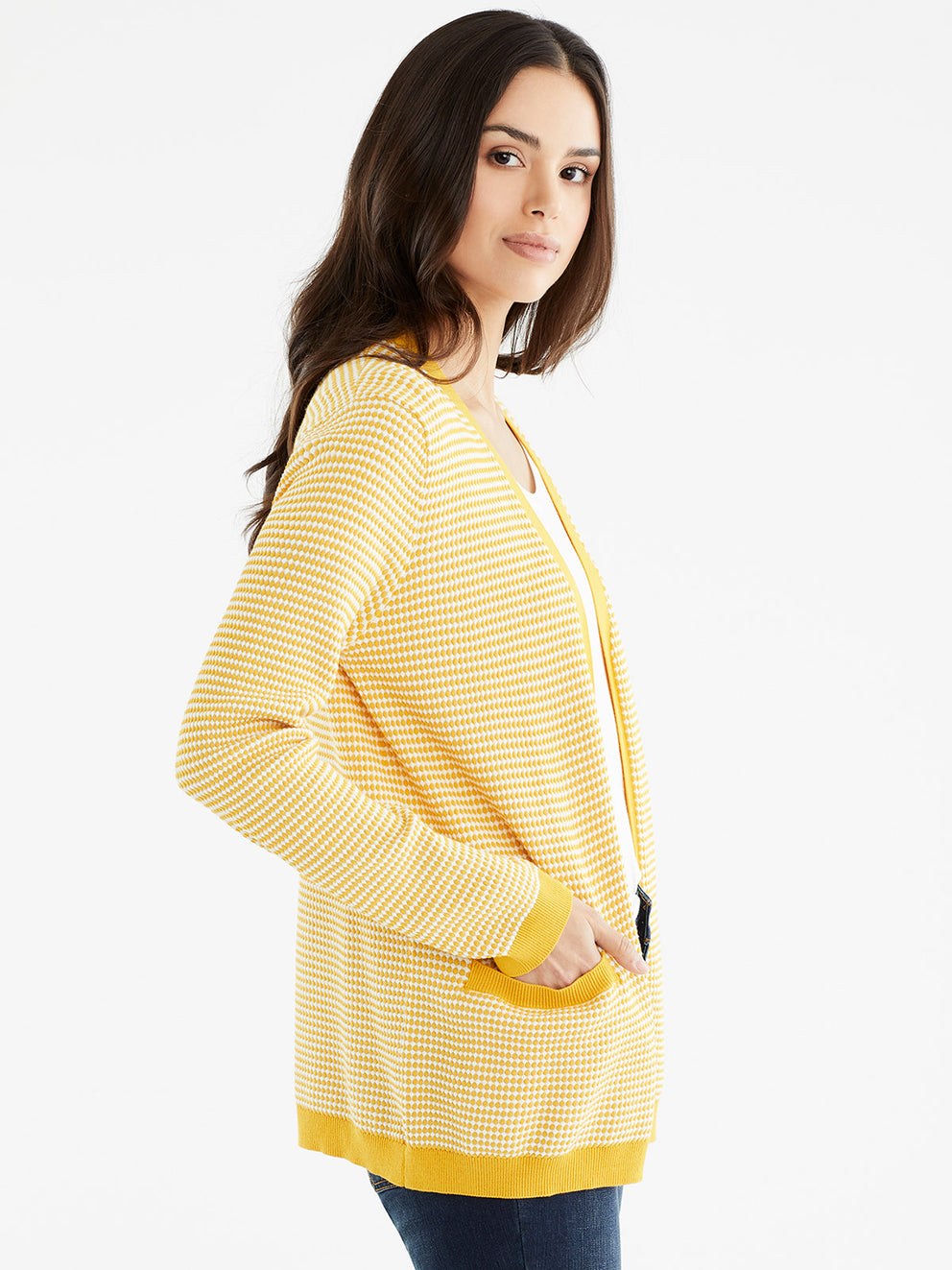 The Jones New York V-Neck Open Cardigan in color Dotted Golden - Image Position 2