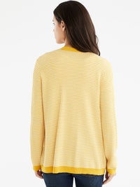The Jones New York V-Neck Open Cardigan in color Dotted Golden - Image Position 3