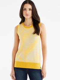 The Jones New York Sleeveless Dot Print Top in color Dotted Golden - Image Position 1