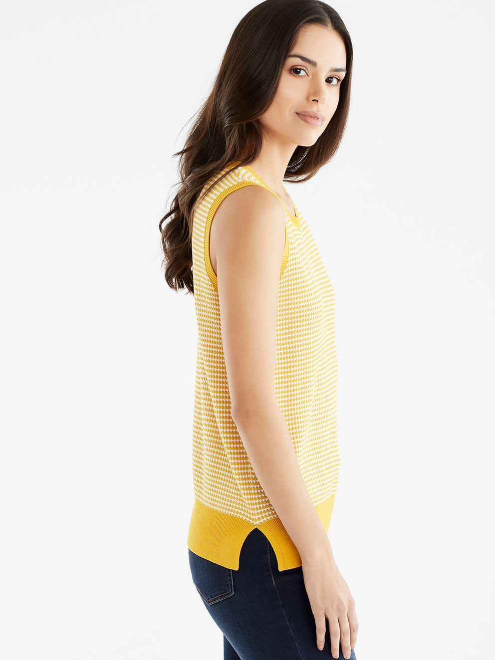 The Jones New York Sleeveless Dot Print Top in color Dotted Golden - Image Position 2