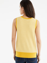 The Jones New York Sleeveless Dot Print Top in color Dotted Golden - Image Position 3