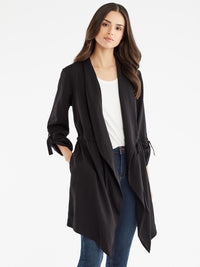 The Jones New York Draped Open Front Jacket in color Black - Image Position 1