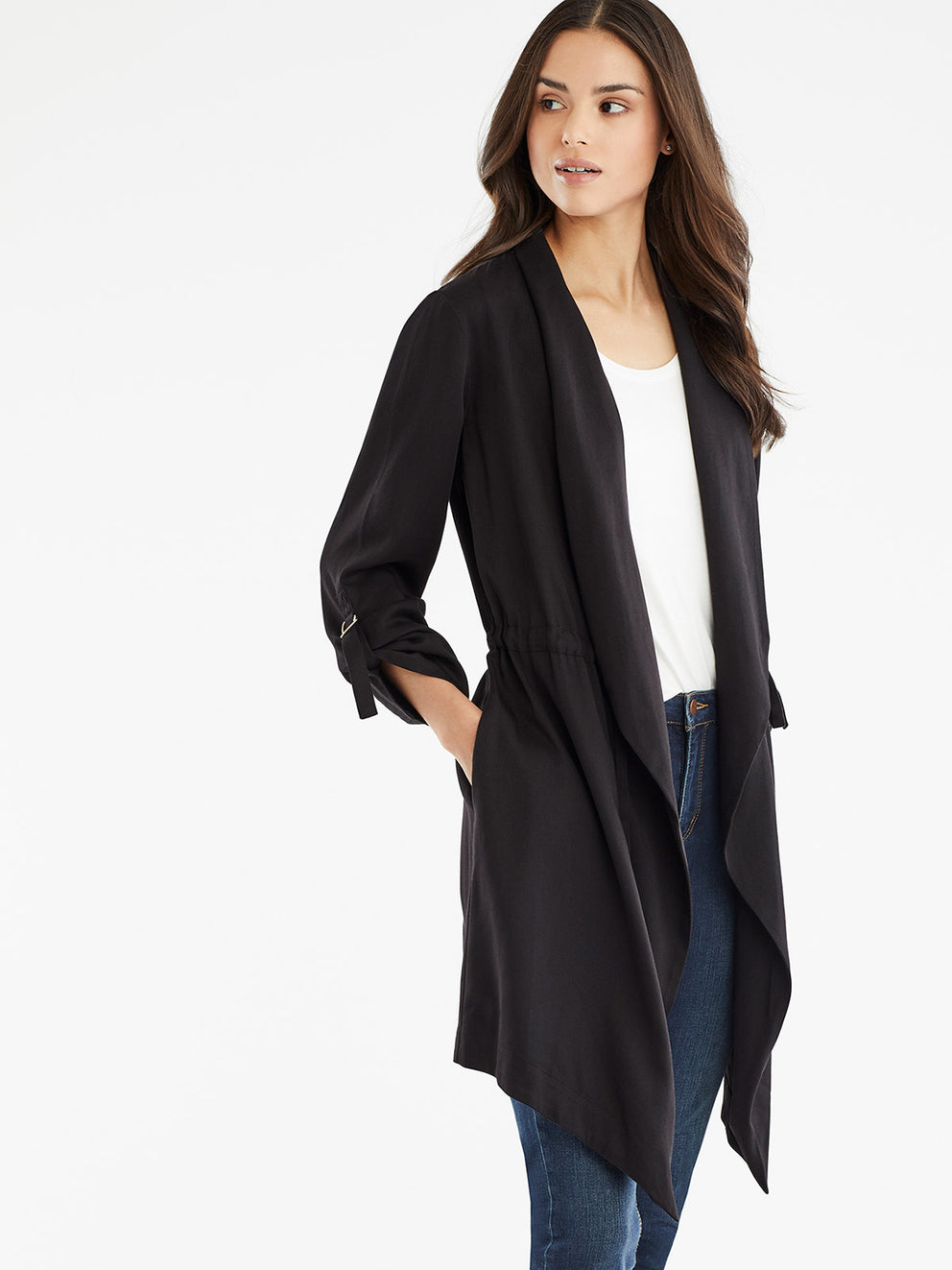 The Jones New York Draped Open Front Jacket in color Black - Image Position 2