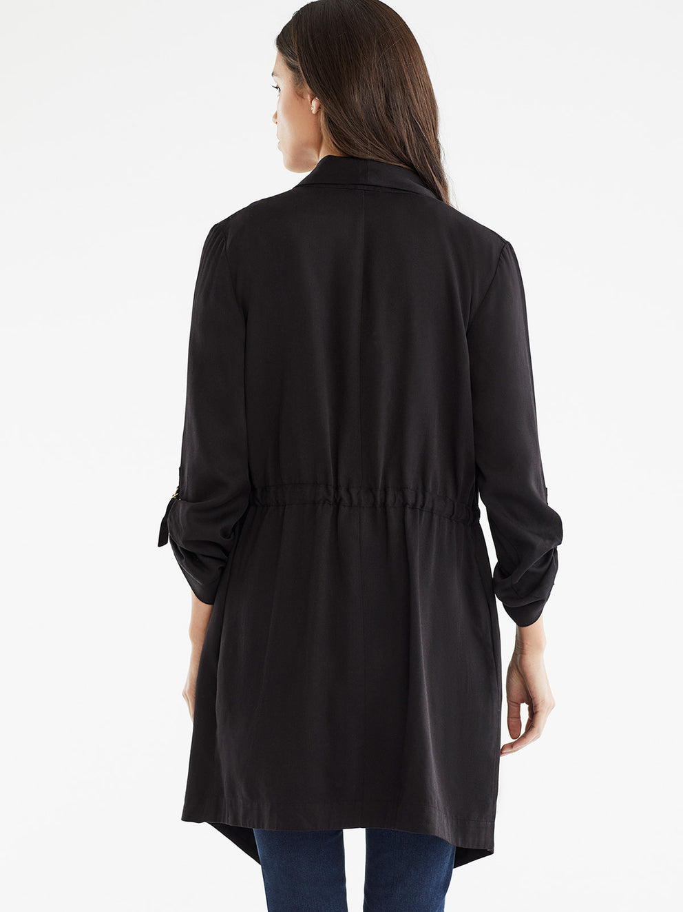 The Jones New York Draped Open Front Jacket in color Black - Image Position 3