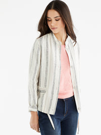The Jones New York Striped Bomber Jacket, Plus Size in color Cement Multi Stripe - Image Position 1