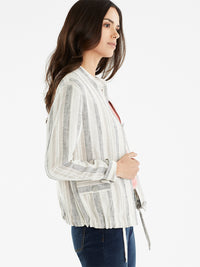The Jones New York Striped Bomber Jacket, Plus Size in color Cement Multi Stripe - Image Position 2