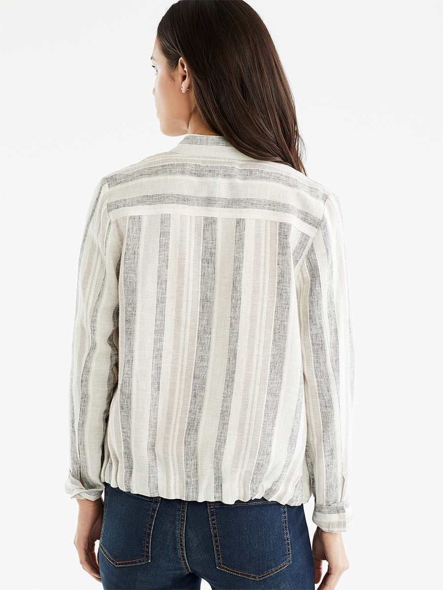 The Jones New York Striped Bomber Jacket, Plus Size in color Cement Multi Stripe - Image Position 3