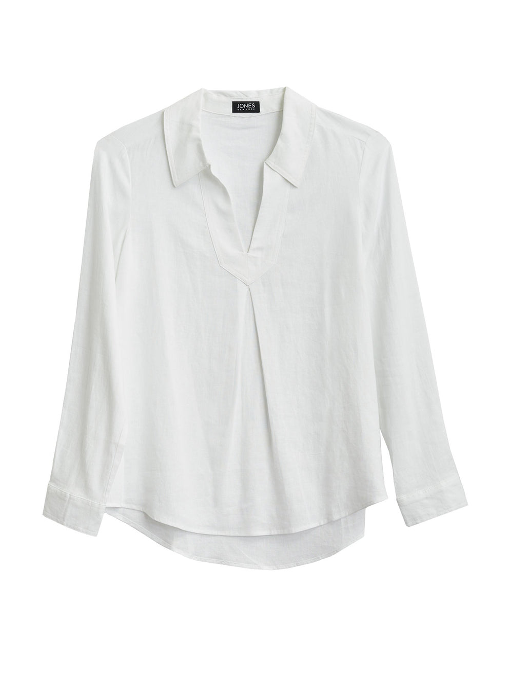 The Jones New York Pleated Popover Top in color White Linen - Image Position 1