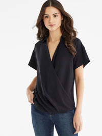 The Jones New York Collared Crossover Top in color Black - Image Position 1