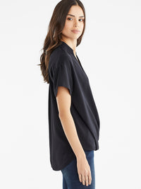 The Jones New York Collared Crossover Top in color Black - Image Position 2