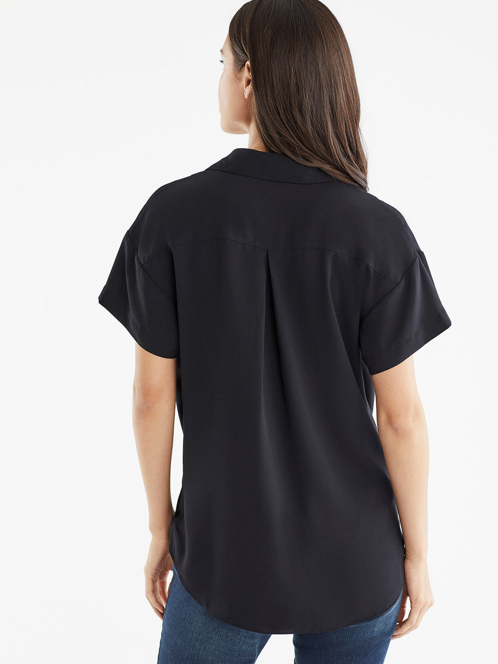 The Jones New York Collared Crossover Top in color Black - Image Position 3