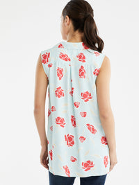 The Jones New York Floral Crossover Top in color Poppy Red Floral - Image Position 3