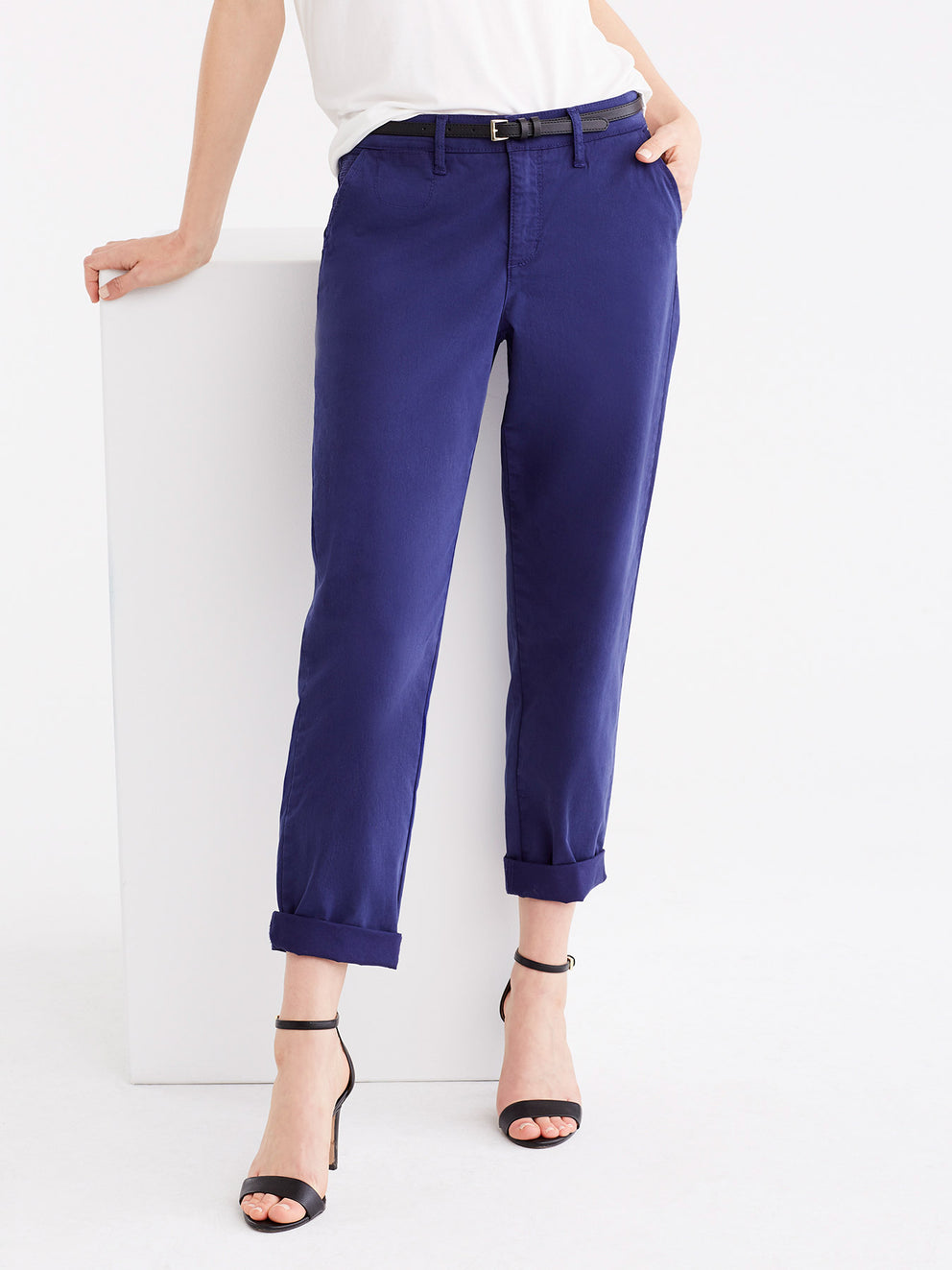 The Jones New York Classic Cropped Chino in color Navy - Image Position 1